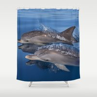 dolphins Shower Curtains featuring Dolphins by Chloe Yzoard