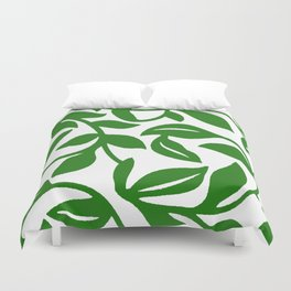 PALM LEAF VINE SWIRL IN GREEN AND WHITE Duvet Cover