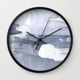 Dark gray nebulous watercolor painting Wall Clock