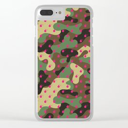 CAMO & HOT PINK BOMB DIGGITYS ALL OVER LARGE Clear iPhone Case