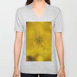 Yellow Bokeh Flower Unisex V-Neck