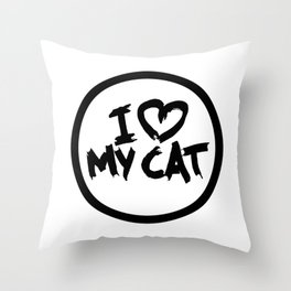 Aesthetic I Love My Cat Illustration Throw Pillow