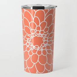 Coral Chrysanth Travel Mug