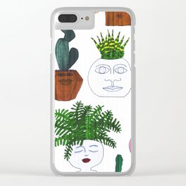 Planter Faces in White Woodgrain Clear iPhone Case