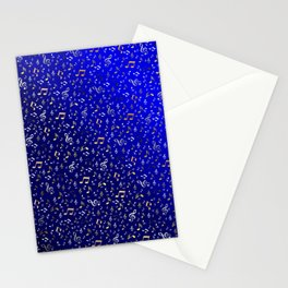 silver,gold,metall music notes in blue Stationery Cards
