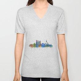 Madrid City Skyline HQ v4 Unisex V-Neck