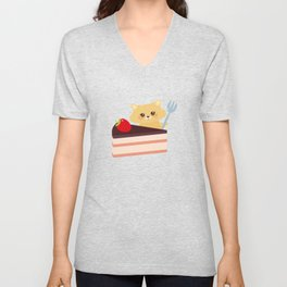 cute kawaii hamster with fork, Sweet cake decorated with fresh Strawberry, pink cream and chocolate Unisex V-Neck