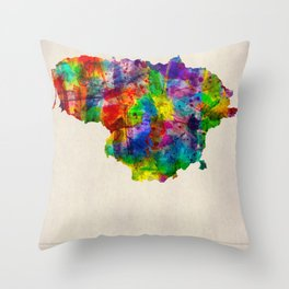 Lithuania Map in Watercolor Throw Pillow