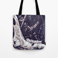 jaws Tote Bags featuring Jaws by mama wolf spider