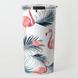 Summer Flamingo Palm Vibes #1 #tropical #decor #art #society6 Travel Mug