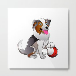 Cartoon Dog with ball Metal Print