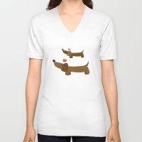dachshund V-neck T-shirts featuring Dachshund by Jackiemtmtz