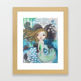 graffiti mermaid Framed Art Print