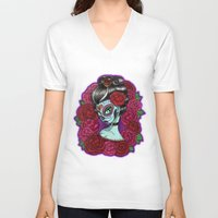 baroque V-neck T-shirts featuring Catrina Baroque by Tattoo Sandra