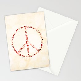 Watercolor music peace Stationery Cards
