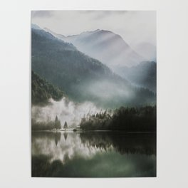 Dreamlike Morning at the Lake - Nature Forest Mountain Photography Poster