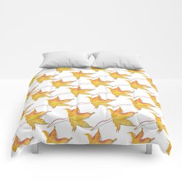 Yellow autumn leaf watercolour Comforters