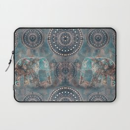 Elephant Ethnic Style Pattern Teal and Copper Laptop Sleeve