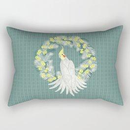 Cockatiel with daisy palm wreath Rectangular Pillow