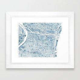 Philadelphia City Map Framed Art Print