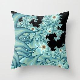 Sea Anemone Fractal Throw Pillow