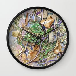 ground beneath my feet in autumn: twigs, pine needles, dry leaves, dry grass Wall Clock