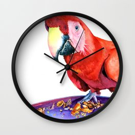 One Red Macaw Wall Clock