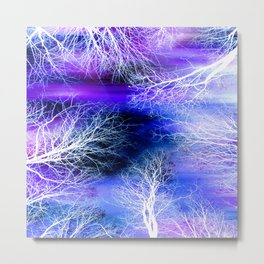 Midnight Trees Purple Blue Metal Print