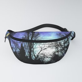 Black Trees Periwinkle Blue Lavender SPACE Fanny Pack