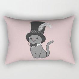 Grey Cat Wears Plumed Top Hat Rectangular Pillow
