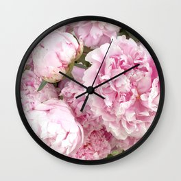 Pink Shabby Chic Peonies - Garden Peony Flowers Wall Prints Home Decor Wall Clock
