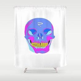 Neon Pixel Psychaedelic Halloween Skull  Shower Curtain