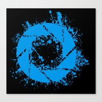 glados Canvas Prints featuring Portal Splatter Logo by Dr4Cu74