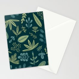 Petrol Blue Greenery Leaves  Stationery Cards