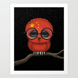 Baby Owl with Glasses and Chinese Flag Art Print