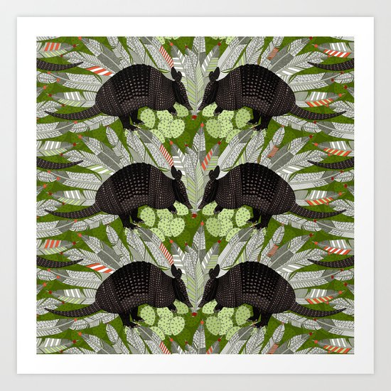 native armadillos green Art Print