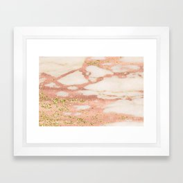Marble - Rose Gold Shimmer Marble with Yellow Gold Glitter Framed Art Print