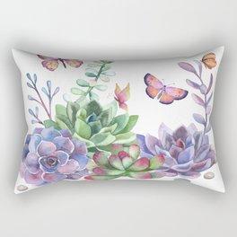 A Splendid Secret Succulent Garden With Butterfly Visitors Rectangular Pillow