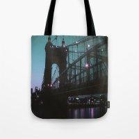 cincinnati Tote Bags featuring Cincinnati by The Violet Noir