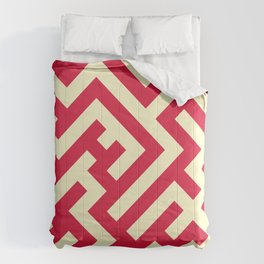 Cream Yellow and Crimson Red Diagonal Labyrinth Comforters
