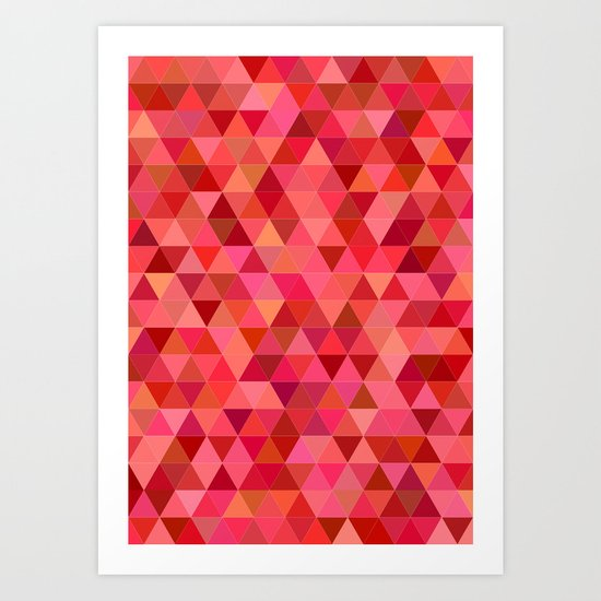 Red triangle tiles Art Print