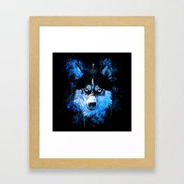 husky dog face splatter watercolor blue Framed Art Print