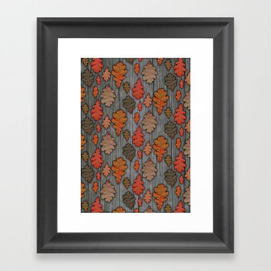 Patterns of Nature - Autumn Oak Leaves Framed Art Print