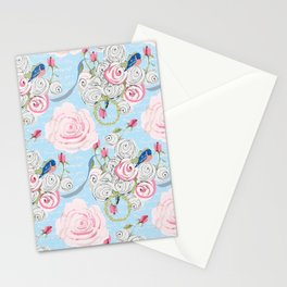 Bluebirds and Watercolor roses on pale blue with white French script Stationery Cards