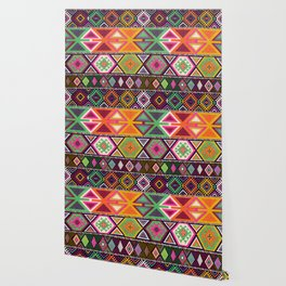 Aztec Artisan Tribal Bright Wallpaper