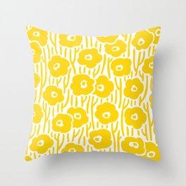 Mid Century Modern Wild Flowers Yellow Throw Pillow