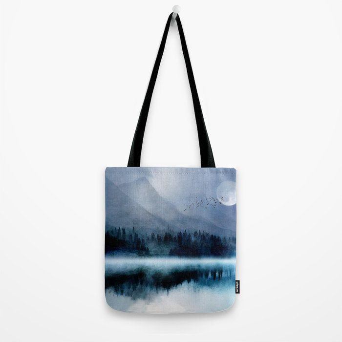 Mountainscape Under The Moonlight Tote Bag