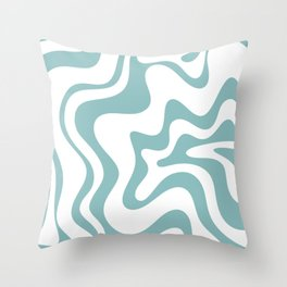 Retro Liquid Swirl Abstract Pattern in Soft Light Teal Blue and White Throw Pillow
