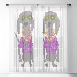 Aloha Weim in Hawaii Grey Ghost Weimaraner Dog Hand-painted Pet Drawing Sheer Curtain
