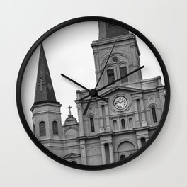 St. Louis Cathedral in Black and White Wall Clock